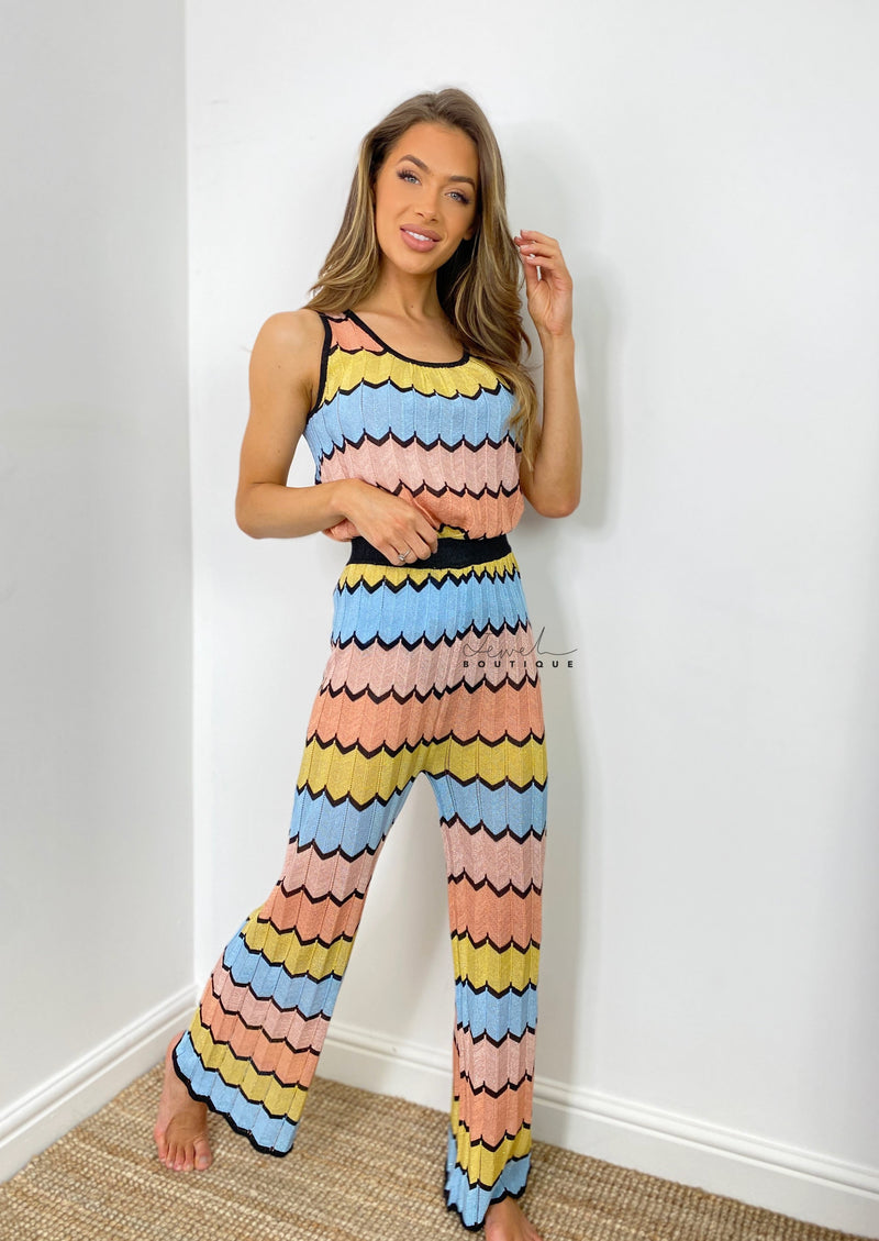Women's luxury fine knit co-ord zigzag set with sleeveless top and wide leg pants