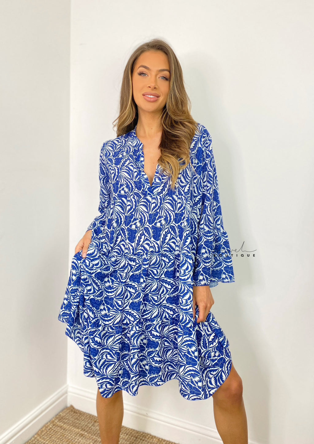 Women's royal blue printed tiered midi dress
