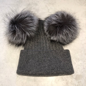 Grey with Silver DOUBLE Bobble Hat