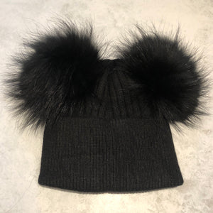 All Black Double Bobble Hat
