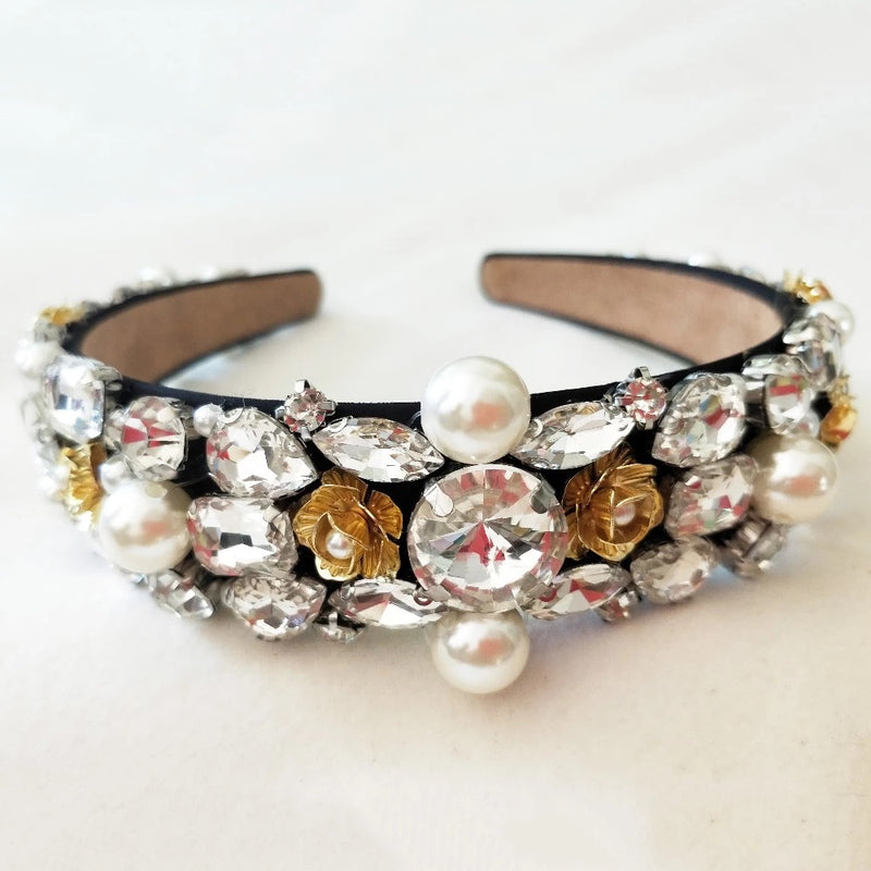 Women's pearl and crystal statement hairband