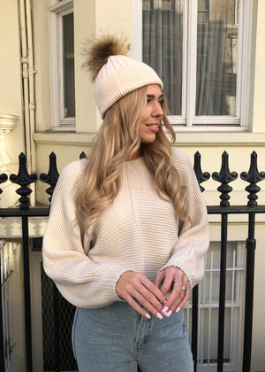 Beige SINGLE Bobble Hat