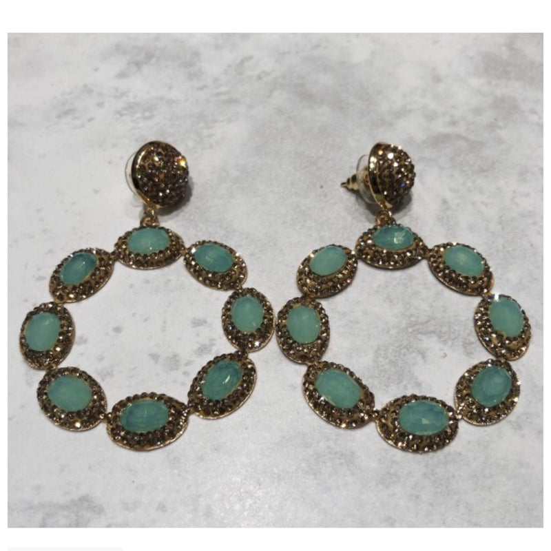 Sienna Earrings - Gold / Apple Green