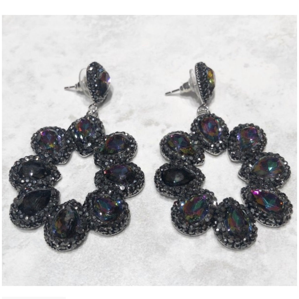 Paris Earrings - Rainbow / Black