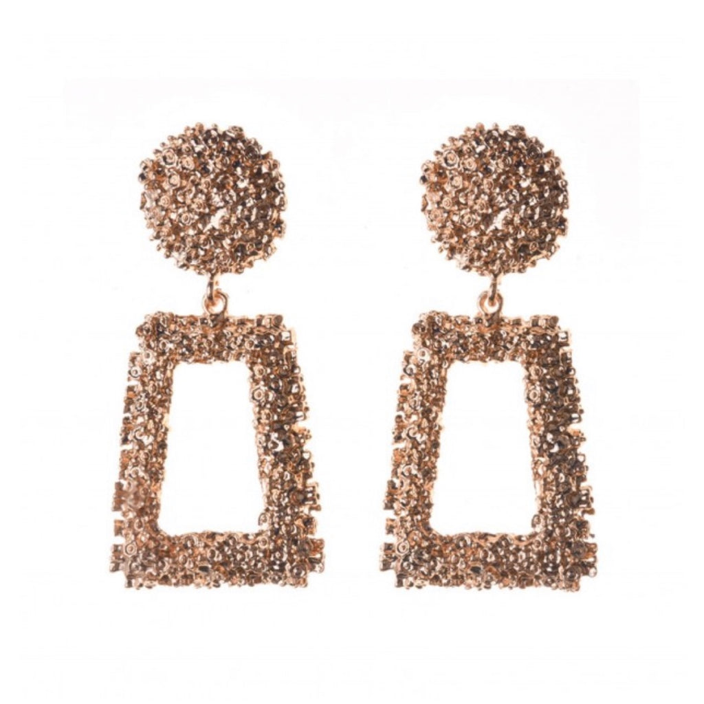 Women's gold metallic statement earrings