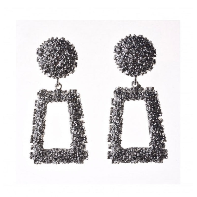 Women's metallic silver statement earrings
