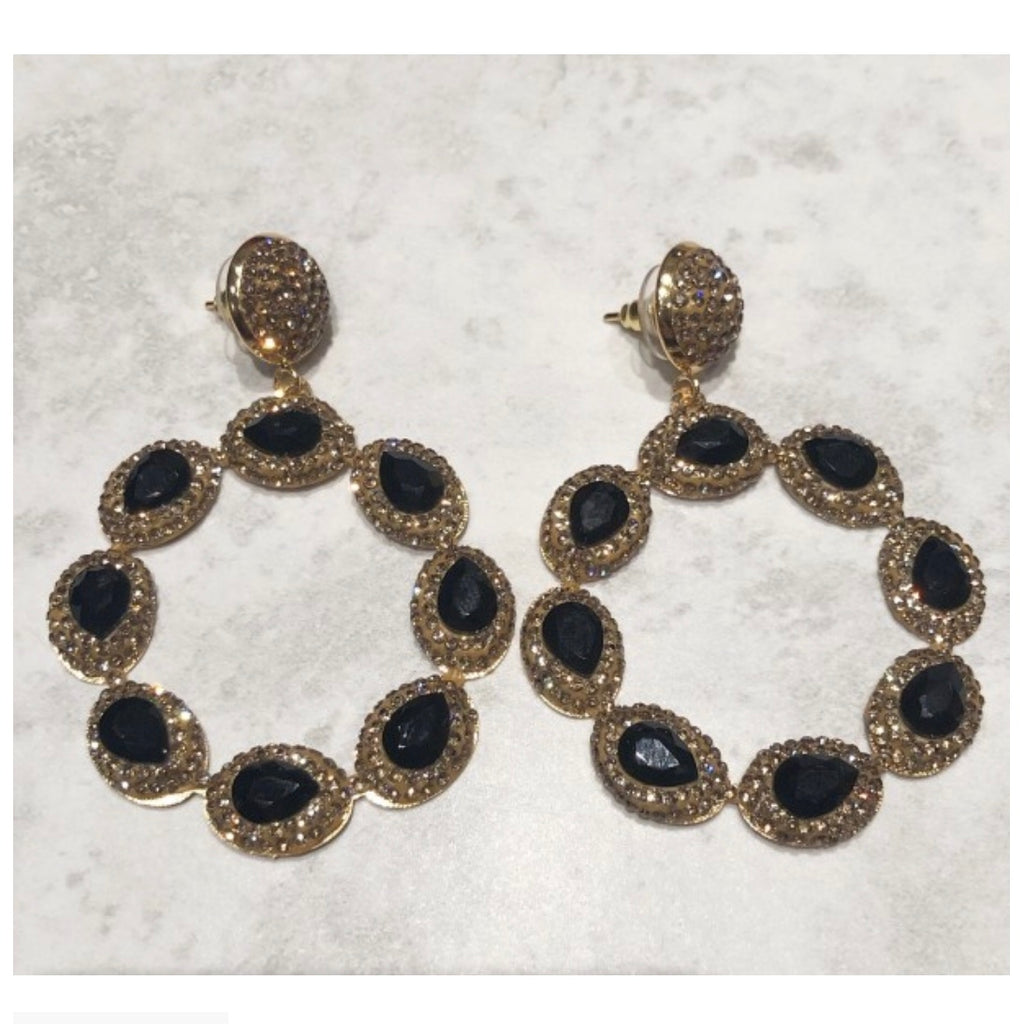 Sienna Earrings - Black / Gold