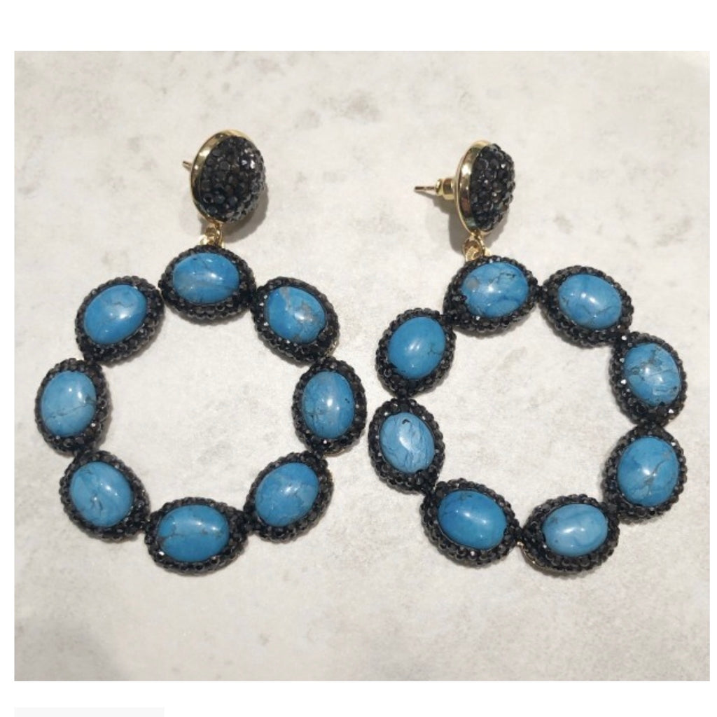 Sienna Earrings - Aqua / Gunmetal
