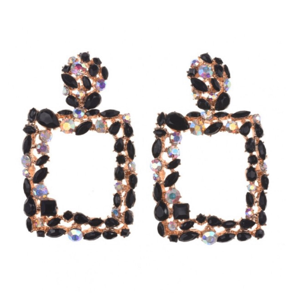 Women's black and gold crystal statement earrings