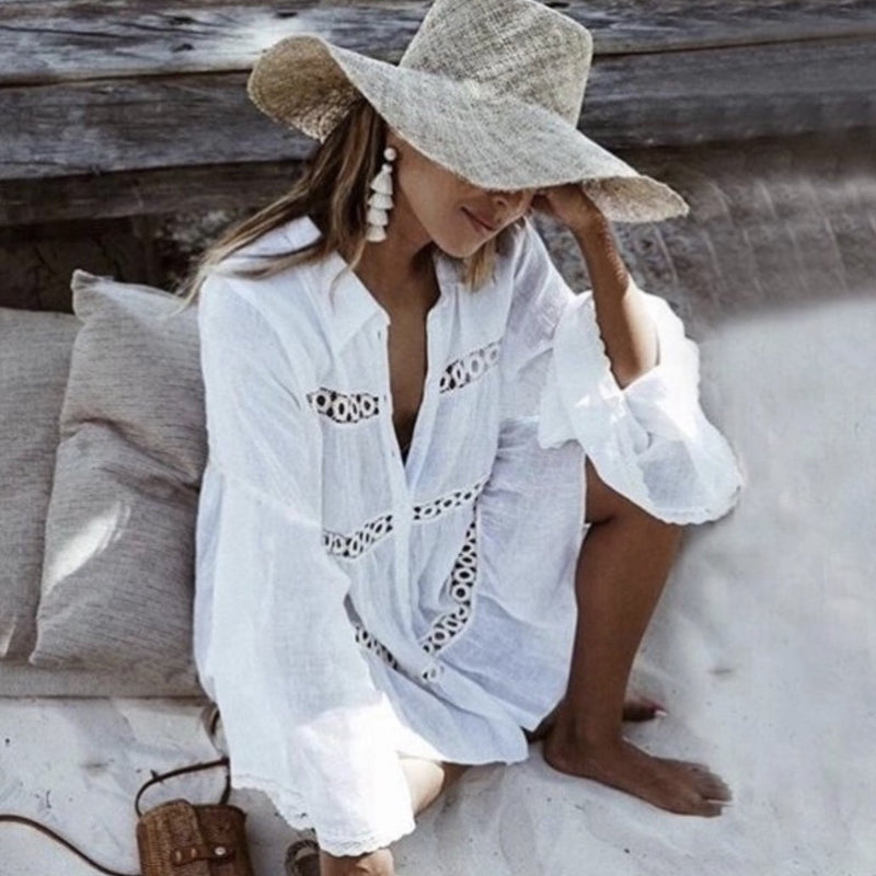 Women's white cotton beach shirt dress