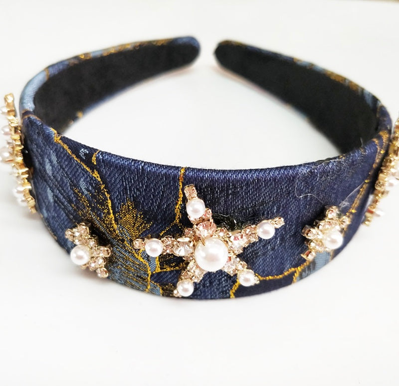 Women's pearl detail blue and gold statement hairband