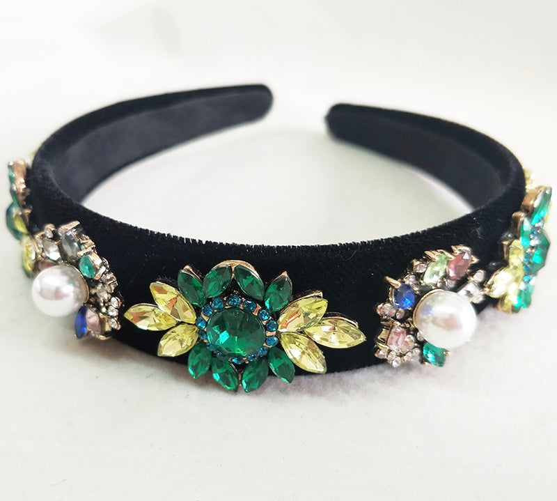 Women's statement hairband with blue and green crystals and pearls