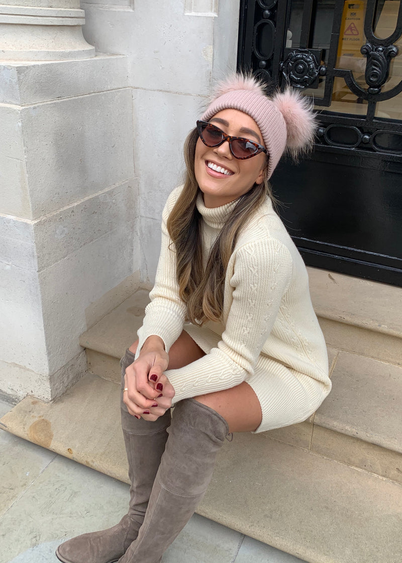 Blush Pink DOUBLE Bobble Hat