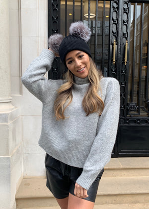 Black with Silver Double Bobble Hat