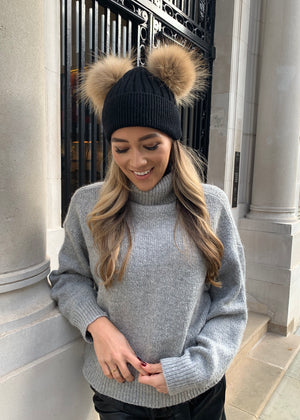 Black with Natural Double Bobble Hat