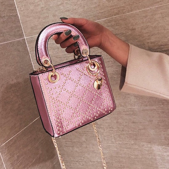 Lilly Metallic Studded Bag - Pink