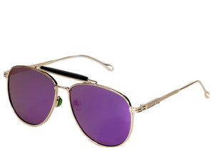 Women's purple mirrored oversized aviator sunglasses