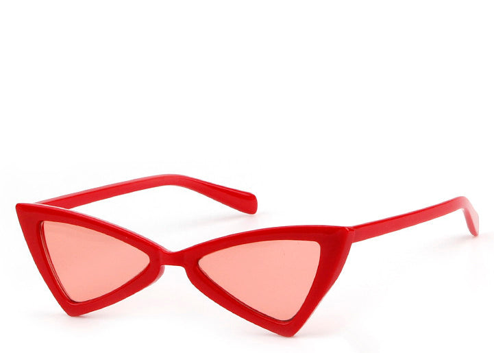 Women's retro slim sunglasses in red