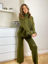 Women's khaki green knitted loungewear set