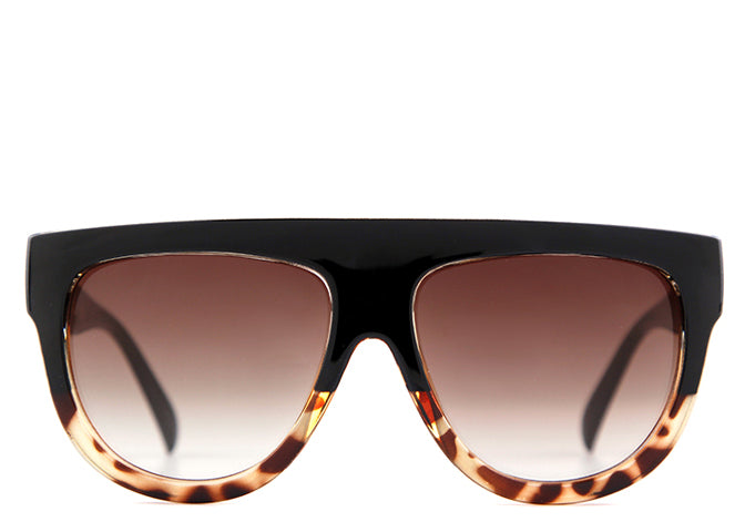 Women's flat top oversized tortoiseshell sunglasses