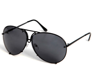 Ladies on trend black oversized aviator sunglasses