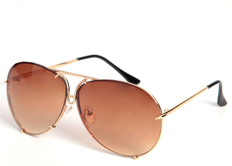 Women's stylish oversized brown tint sunglasses with a gold frame