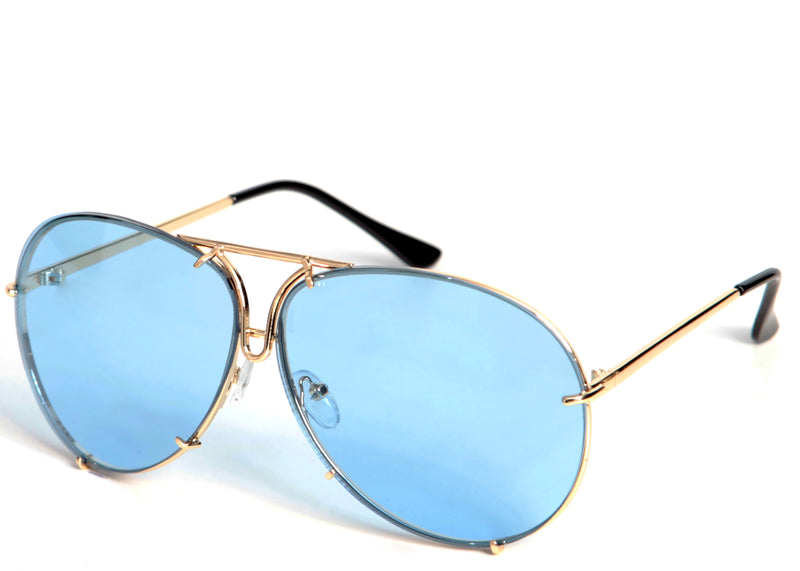 Women's modern blue tinted aviator sunglasses