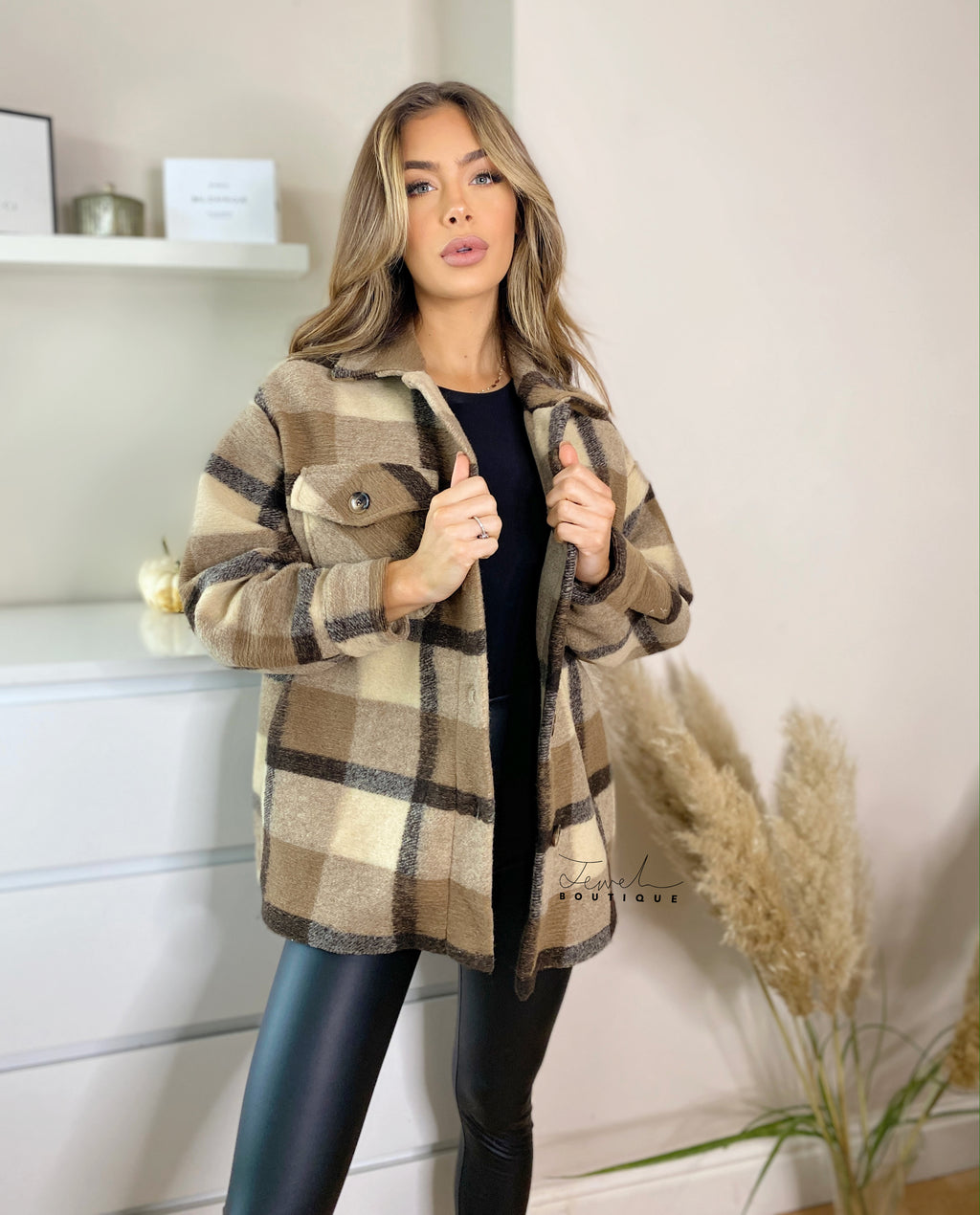 Women's brown checked warm shacket