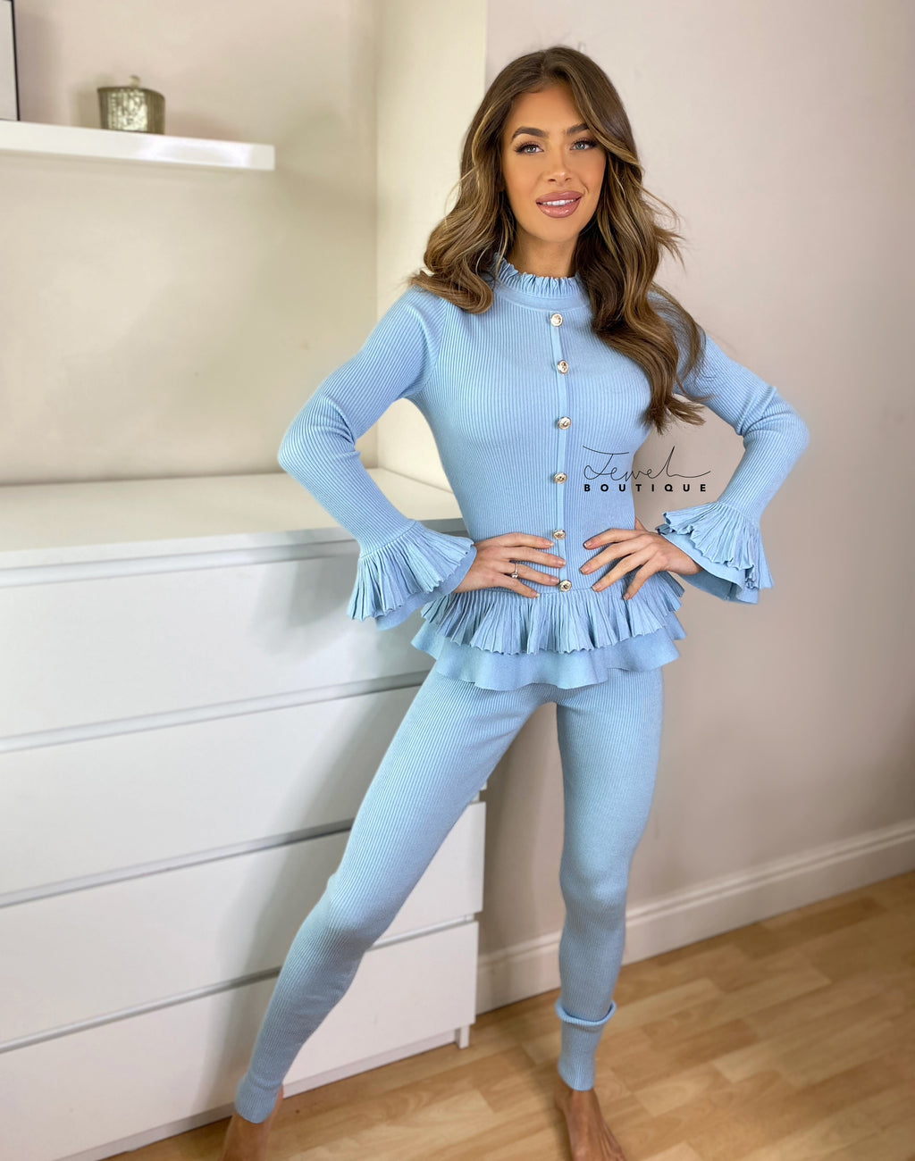 Women's sky blue loungewear set with frill and gold button detail