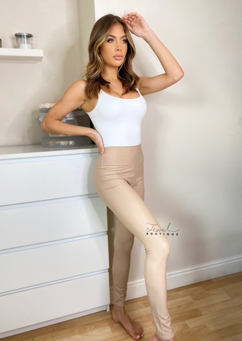 Women's sculpting beige faux leather leggings