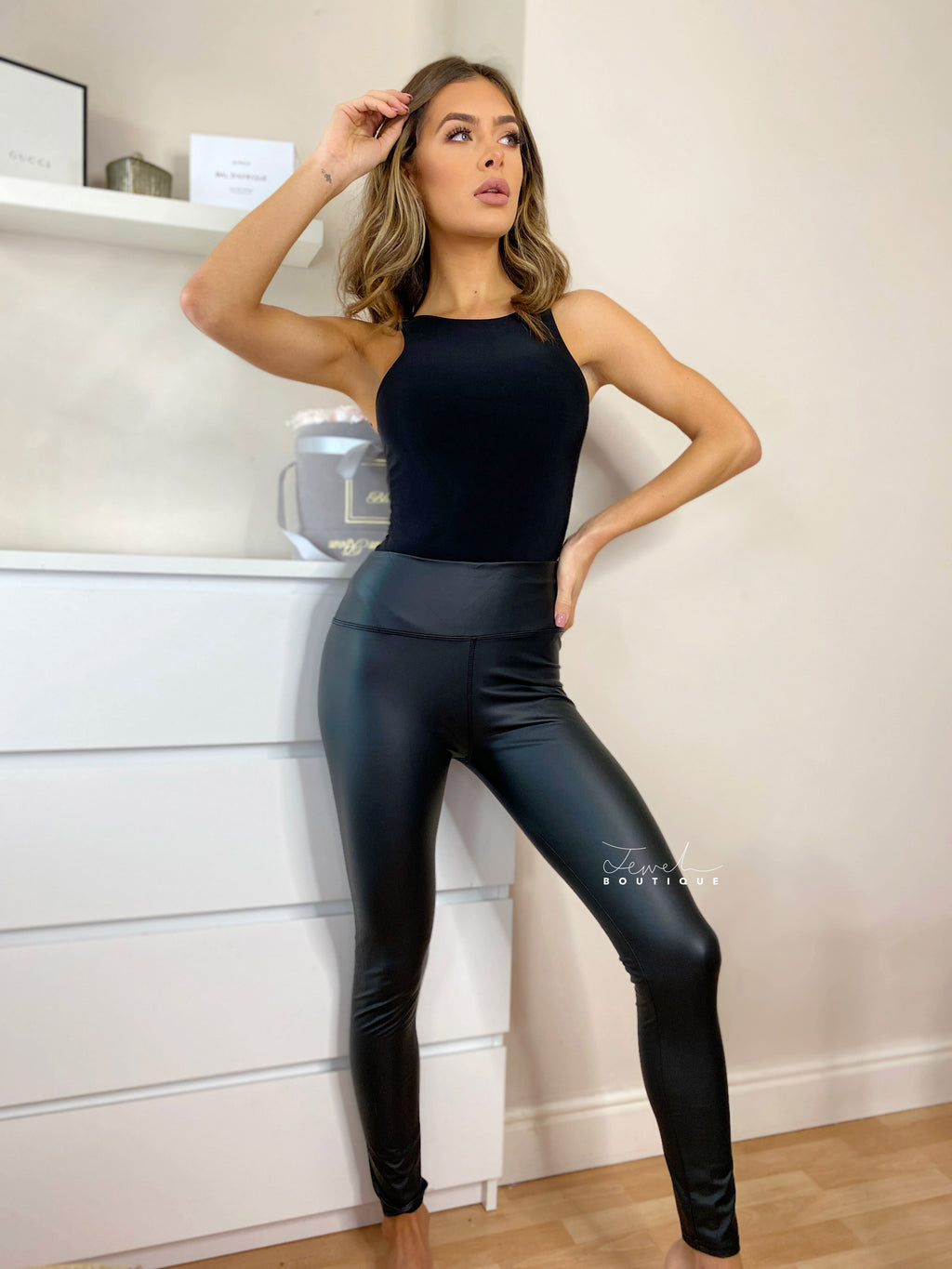 Women's PU black leather look leggings