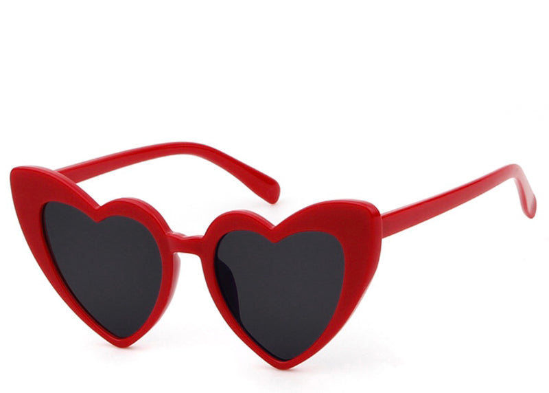 Women's on trend red heart shaped sunglasses