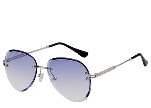 Women's stylish blue round tinted aviator sunglasses