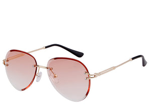 Women's on trend orange tinted aviator sunglasses