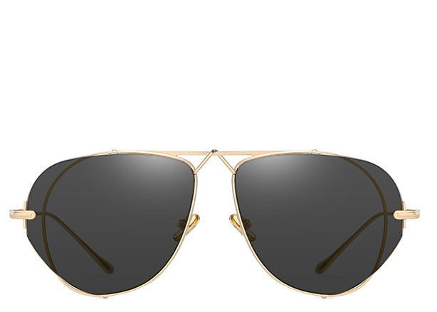 Women's flat black and gold large aviator sunglasses