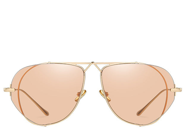 Women's flat peach tint and gold large aviator sunglasses