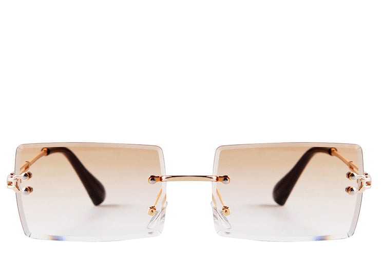 Women's vintage style rimless nude square sunglasses