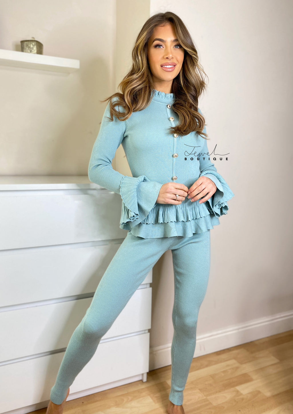 Women's mint green loungewear set with frill and gold button detail
