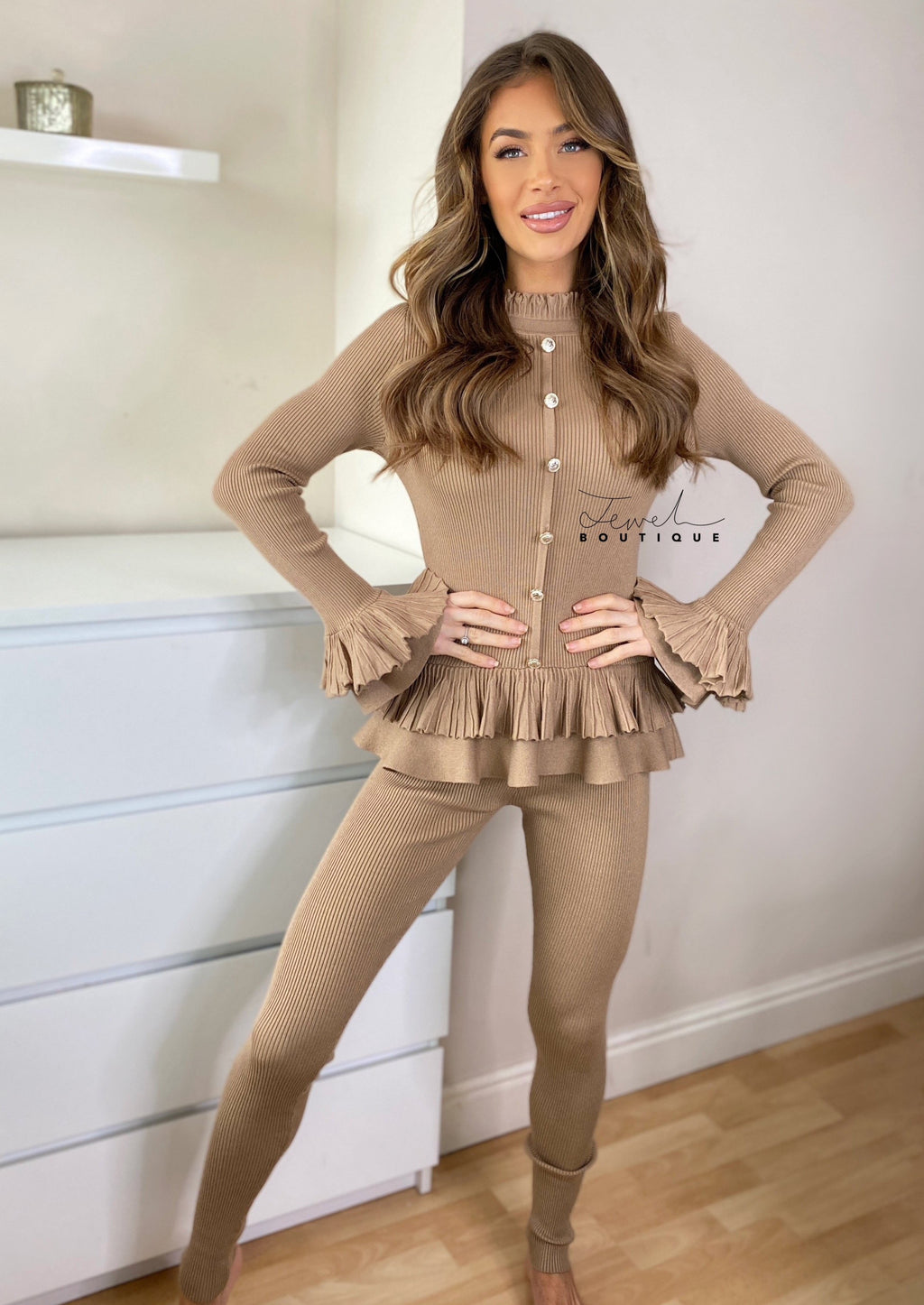 Women's mocha loungewear set with frill and gold button detail