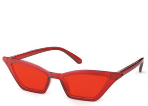 Women's retro cool red slim sunglasses