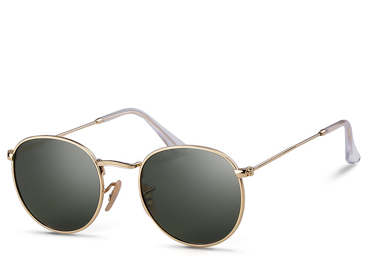 Women's small classic round black and gold aviator sunglasses