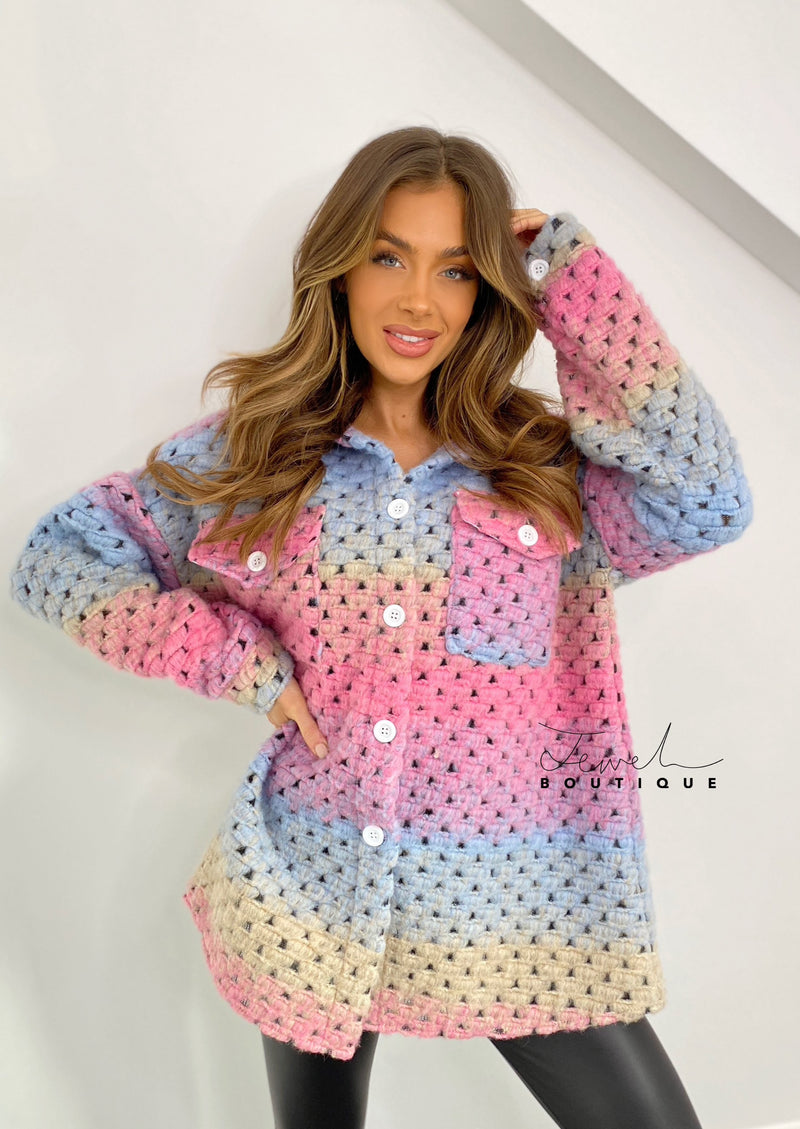 Women's multicoloured woven shacket
