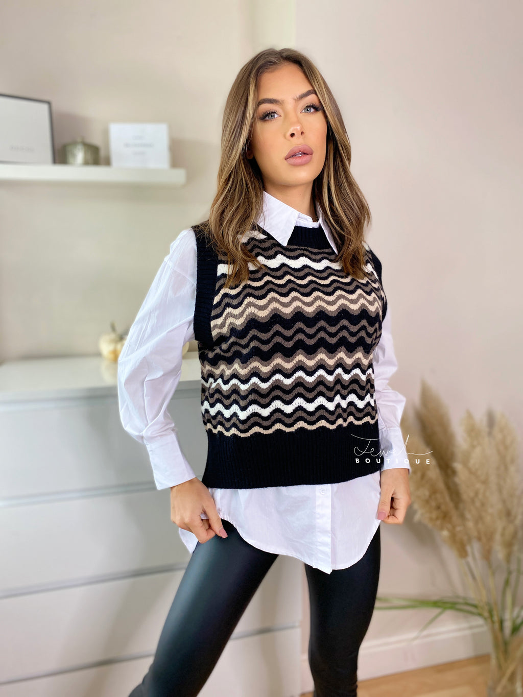 Women's stylish black knitted vest and white shirt set
