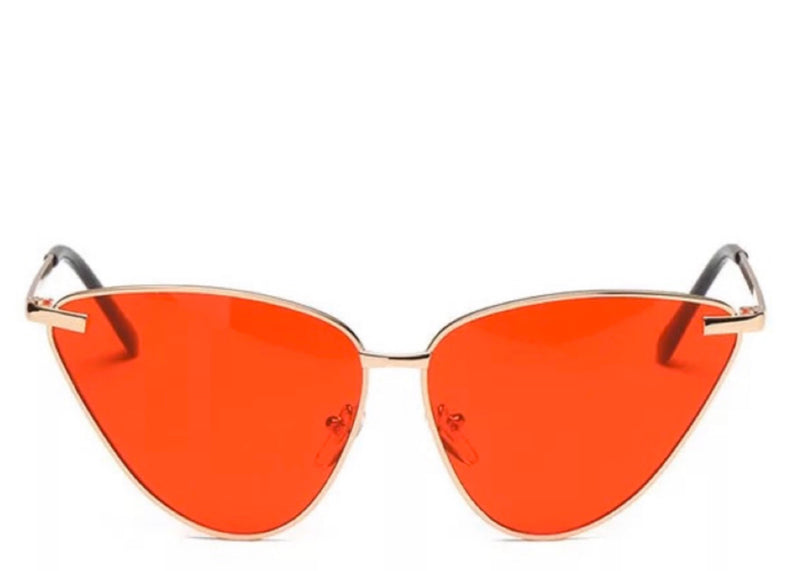 Women's stylish red tinted cat eye sunglasses