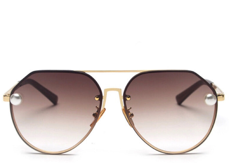 Women's stylish brown tint aviator sunglasses with pearl detail