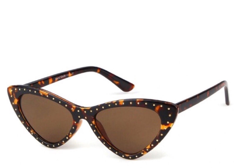 Women's brown tortoiseshell small sunglasses with studded frame detail