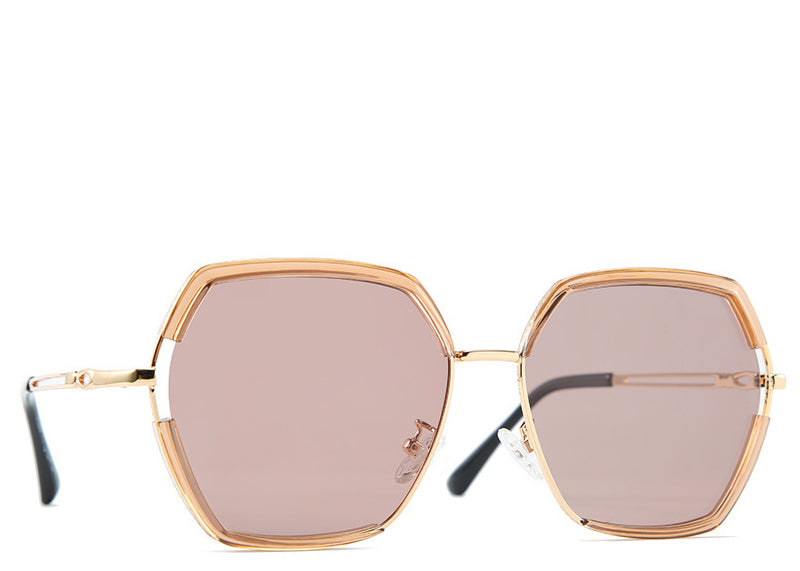 Women's peach tinted hexagon sunglasses