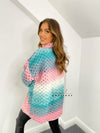 Women's pink and blue woven wool blend shacket