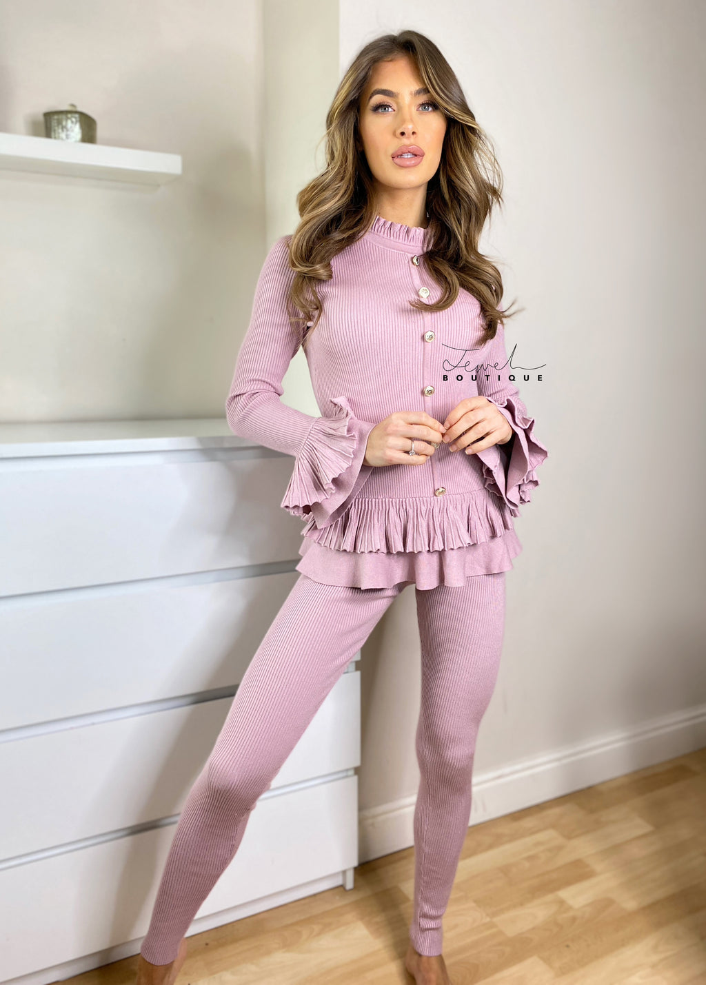 Women's mauve loungewear set with frill and gold button detail