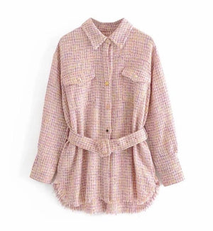 Women's pretty pink tweed shacket shirt jacket with gold buttons and belt detail